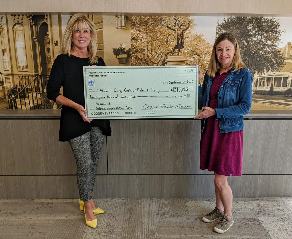 Harriet presenting a check to the President of the Women's Giving Circle, Linda Roth.