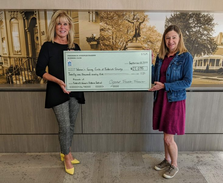 Harriet presenting a check to the President of the Women's Giving Circle