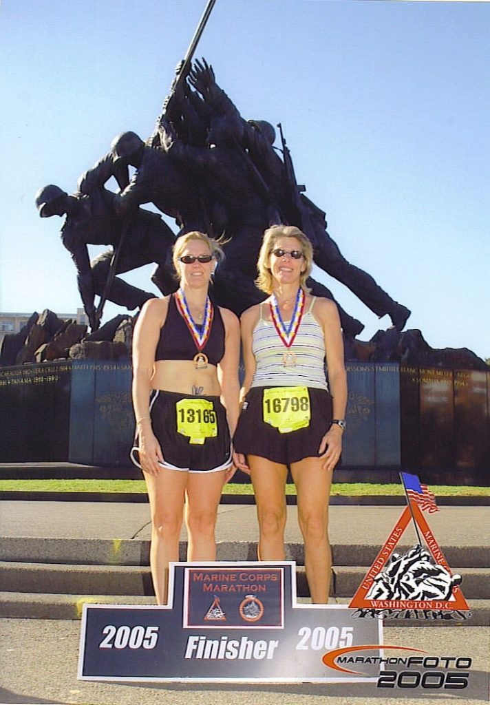Jean Marie and her sister at the end of 2005 Marine Corps Marathon.
