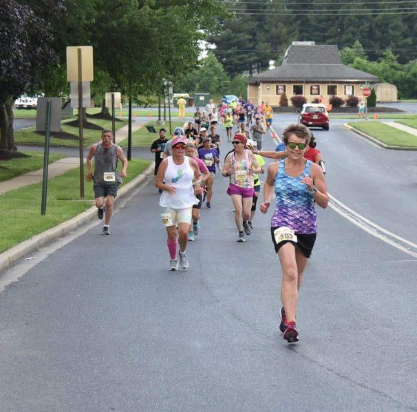 Heidi Novak running in the Frederick Summer Solstice 8K, June 2021